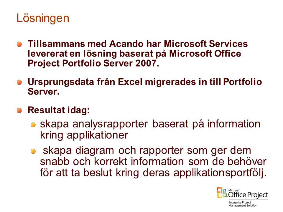 Lösningen Tillsammans med Acando har Microsoft Services levererat en lösning baserat på Microsoft Office Project Portfolio Server 2007. Ursprungsdata