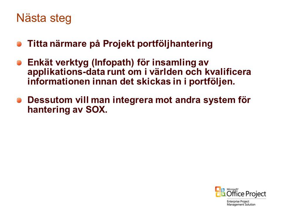 Nästa steg Titta närmare på Projekt portföljhantering Enkät verktyg (Infopath) för insamling av applikations-data runt om i världen och kvalificera in