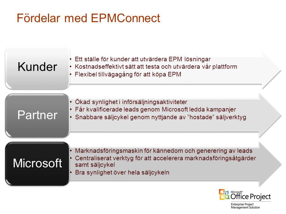 Fördelar med EPMConnect •Ett ställe för kunder att utvärdera EPM lösningar •Kostnadseffektivt sätt att testa och utvärdera vår plattform •Flexibel til