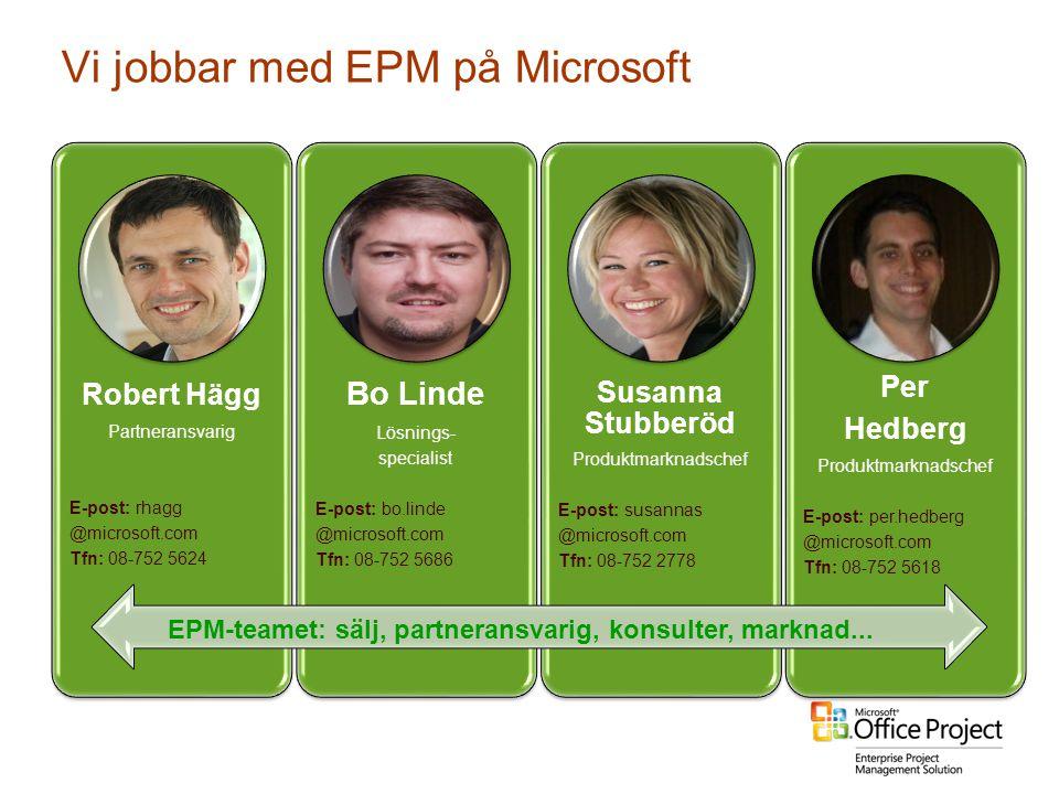Vi jobbar med EPM på Microsoft Robert Hägg Partneransvarig E-post: rhagg @microsoft.com Tfn: 08-752 5624 Bo Linde Lösnings- specialist E-post: bo.lind