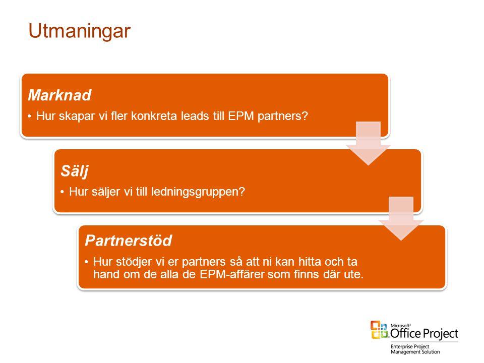 Utmaningar Marknad •Hur skapar vi fler konkreta leads till EPM partners? Sälj •Hur säljer vi till ledningsgruppen? Partnerstöd •Hur stödjer vi er part