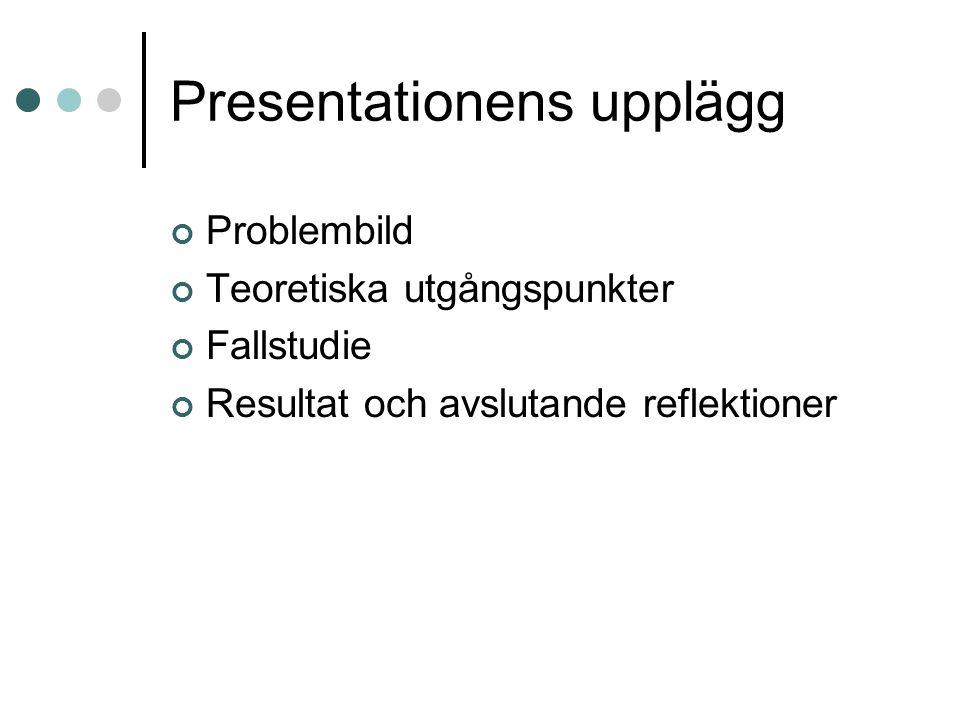 Presentationens upplägg Problembild Teoretiska utgångspunkter Fallstudie Resultat och avslutande reflektioner