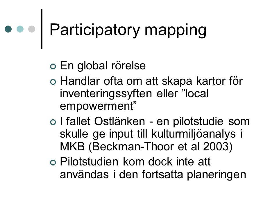 """Participatory mapping En global rörelse Handlar ofta om att skapa kartor för inventeringssyften eller """"local empowerment"""" I fallet Ostlänken - en pilo"""