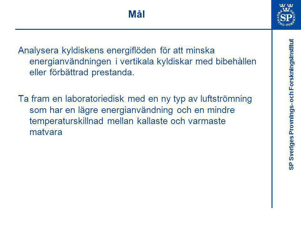 SP Sveriges Provnings- och Forskningsinstitut Mål Analysera kyldiskens energiflöden för att minska energianvändningen i vertikala kyldiskar med bibehå