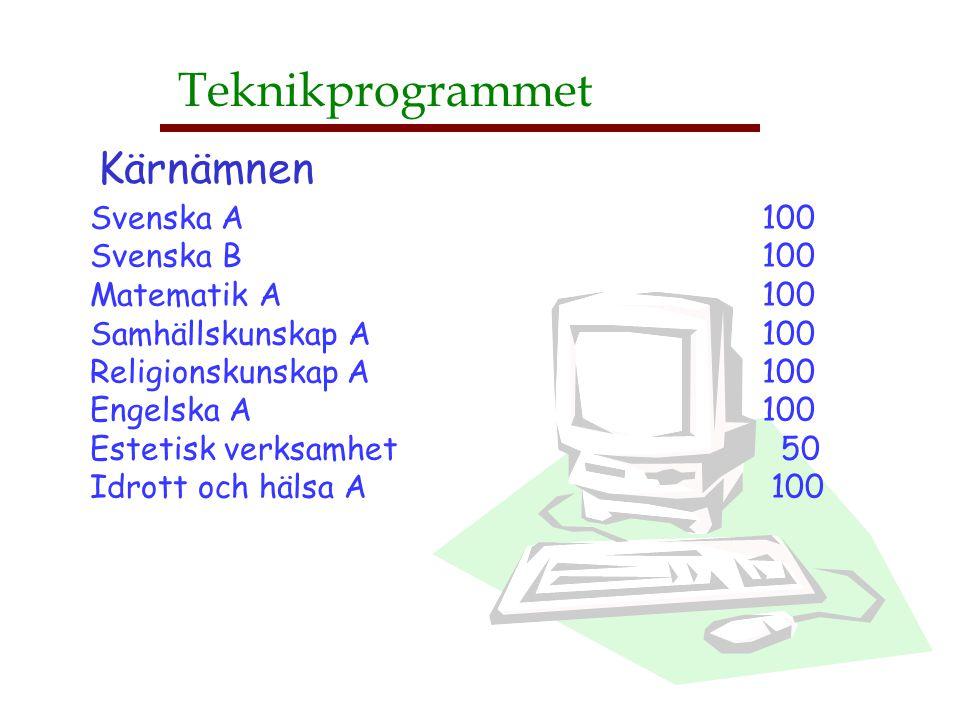 Teknik, människa och samhälle 50 Teknikutveckling och företagande 100 Datorkunskap 50 Matematik B 50 Matematik C 100 Kemi A 100 Fysik A 100 Engelska B 100 CAD A 50 Programmering A 50 Teknisk kommunikation 50 (Projektarbete 100) Teknikprogrammet Gemensamma kurser