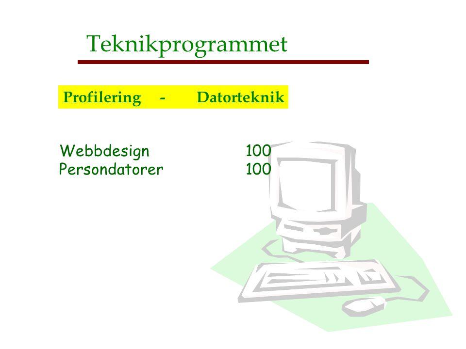 Webbdesign 100 Persondatorer 100 750 650 400 300 300 Teknikprogrammet Profilering - Datorteknik