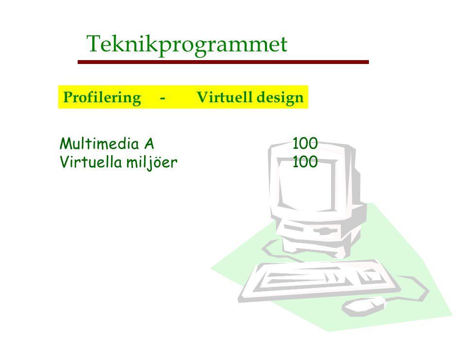 Multimedia A 100 Virtuella miljöer 100 Teknikprogrammet Profilering - Virtuell design