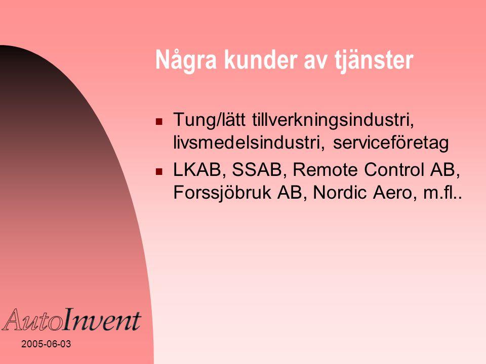 2005-06-03 Några kunder av tjänster  Tung/lätt tillverkningsindustri, livsmedelsindustri, serviceföretag  LKAB, SSAB, Remote Control AB, Forssjöbruk AB, Nordic Aero, m.fl..
