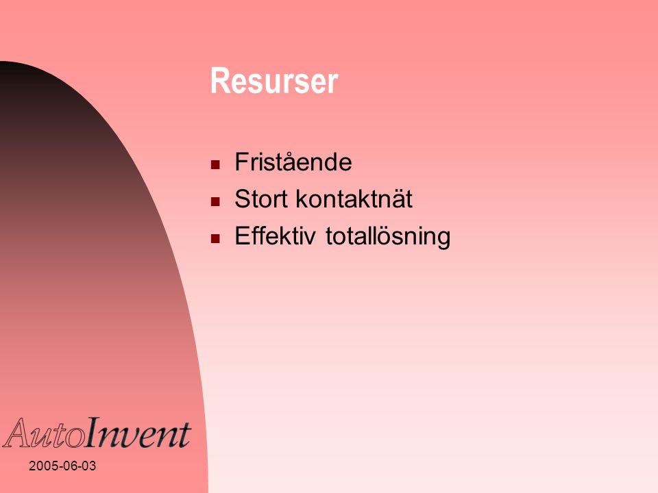 2005-06-03 Resurser  Fristående  Stort kontaktnät  Effektiv totallösning
