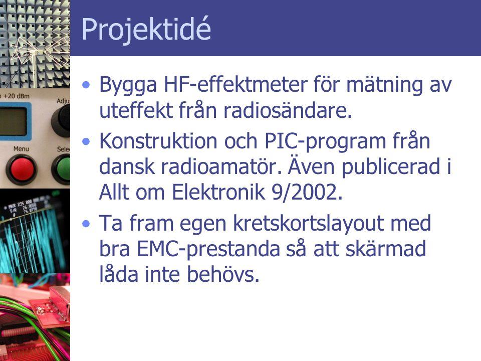 Projektidé •Bygga HF-effektmeter för mätning av uteffekt från radiosändare. •Konstruktion och PIC-program från dansk radioamatör. Även publicerad i Al