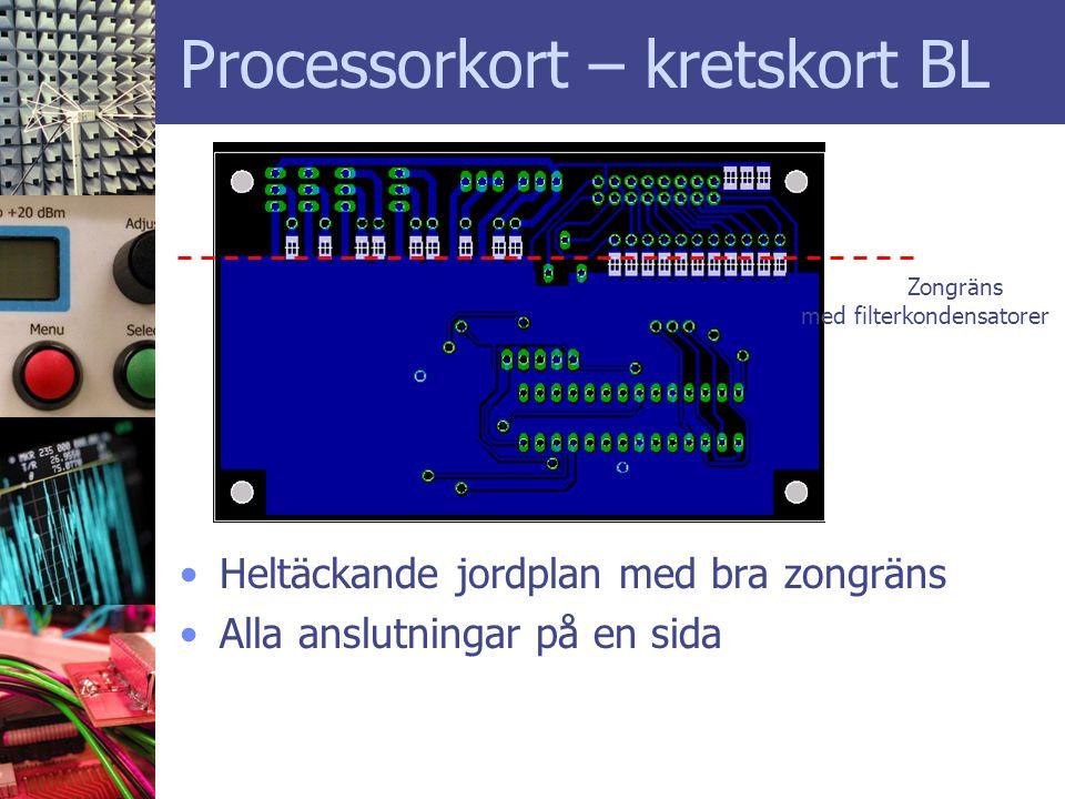 Processorkort – kretskort BL •Heltäckande jordplan med bra zongräns •Alla anslutningar på en sida Zongräns med filterkondensatorer