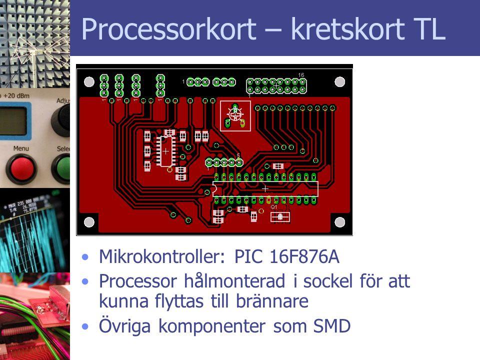 Processorkort – kretskort TL •Mikrokontroller: PIC 16F876A •Processor hålmonterad i sockel för att kunna flyttas till brännare •Övriga komponenter som SMD