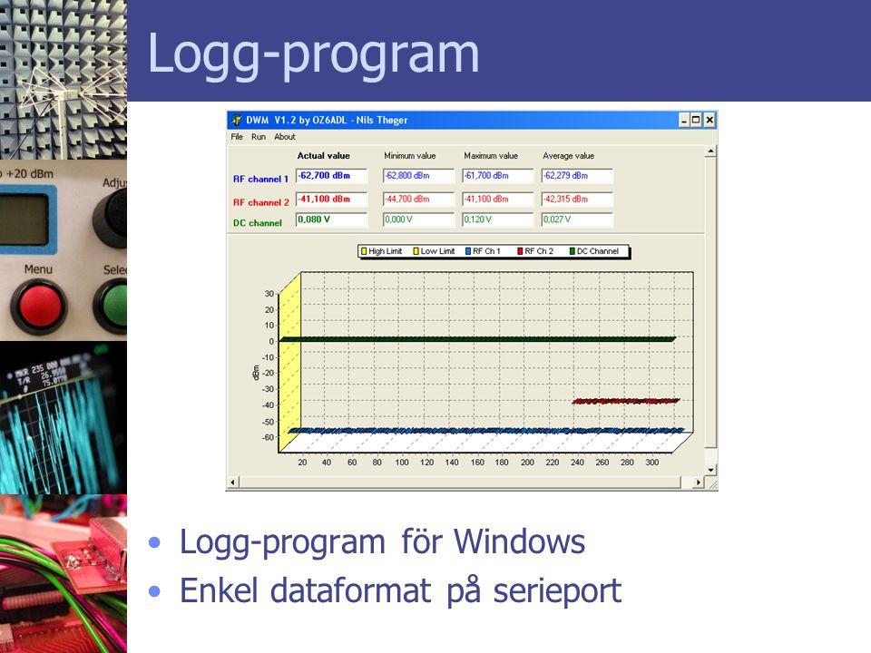 Logg-program •Logg-program för Windows •Enkel dataformat på serieport