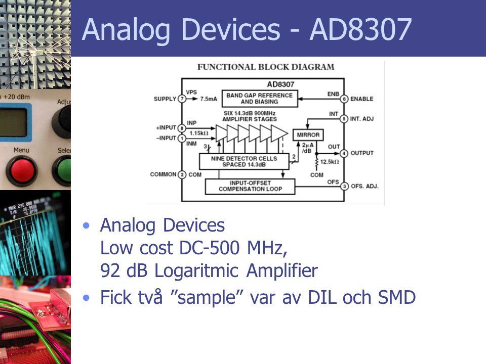 "Analog Devices - AD8307 •Analog Devices Low cost DC-500 MHz, 92 dB Logaritmic Amplifier •Fick två ""sample"" var av DIL och SMD"