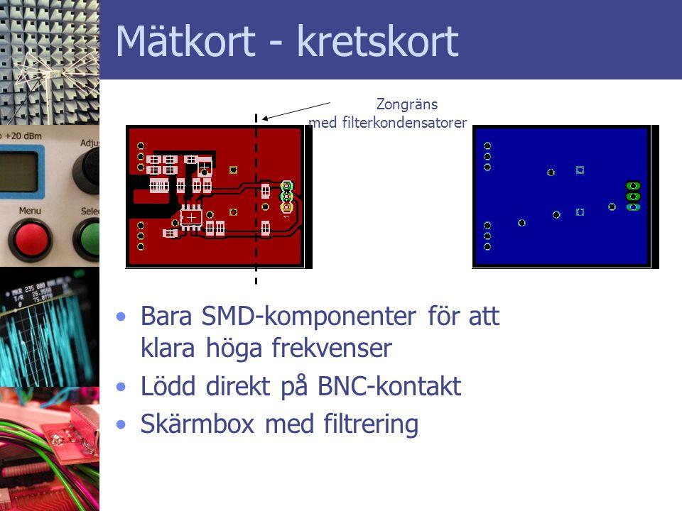 Mätkort - kretskort •Bara SMD-komponenter för att klara höga frekvenser •Lödd direkt på BNC-kontakt •Skärmbox med filtrering Zongräns med filterkondensatorer
