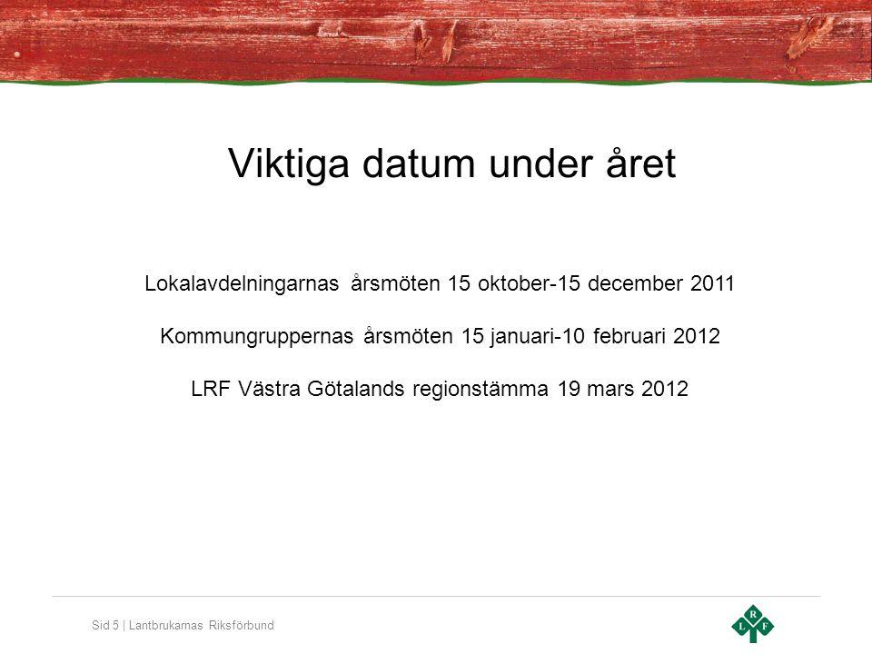 Sid 6 | Lantbrukarnas Riksförbund Organisation + personal •Kontor i Skara, Borås och Uddevalla •20 anställda i LRF Västra Sverige omfattande Västra Götaland och Värmland