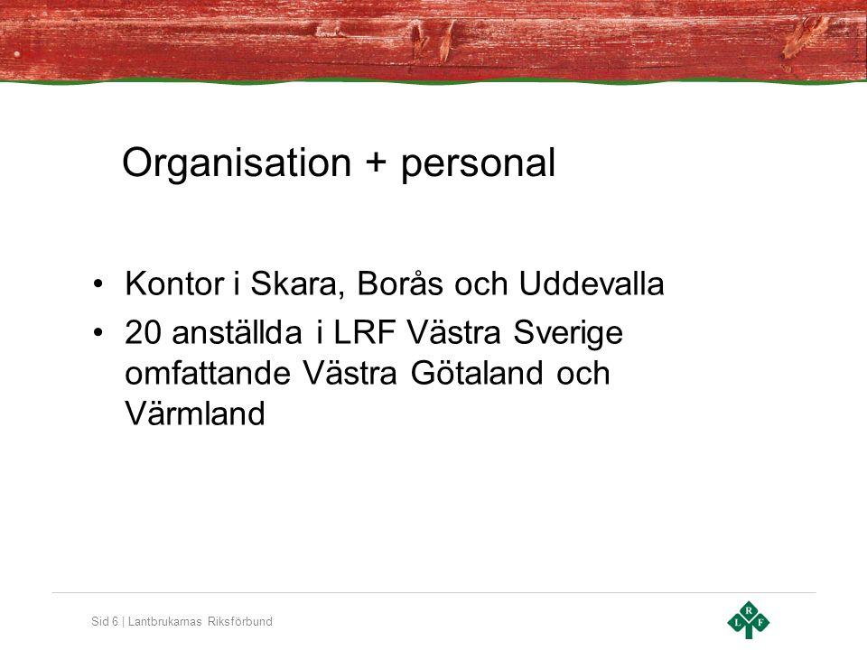 Sid 6 | Lantbrukarnas Riksförbund Organisation + personal •Kontor i Skara, Borås och Uddevalla •20 anställda i LRF Västra Sverige omfattande Västra Gö