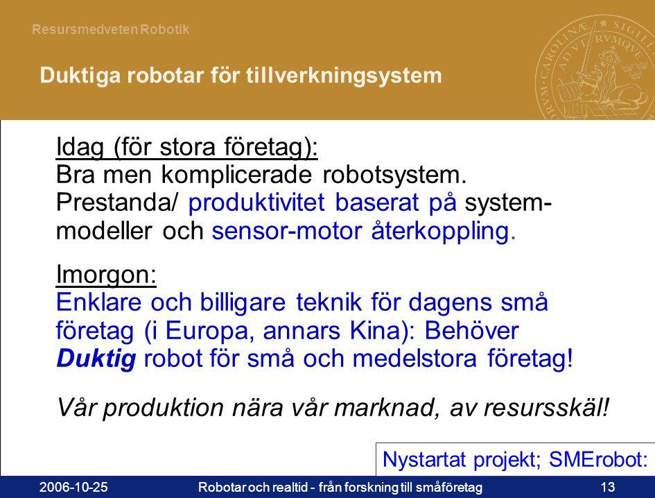 13 Resursmedveten Robotik 2006-10-25Robotar och realtid - från forskning till småföretag13 Idag (för stora företag): Bra men komplicerade robotsystem.