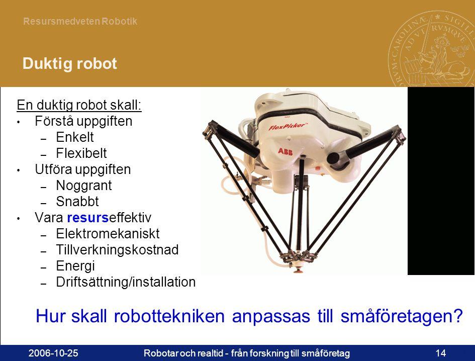 14 Resursmedveten Robotik 2006-10-25Robotar och realtid - från forskning till småföretag14 Duktig robot En duktig robot skall: • Förstå uppgiften – Enkelt – Flexibelt • Utföra uppgiften – Noggrant – Snabbt • Vara resurseffektiv – Elektromekaniskt – Tillverkningskostnad – Energi – Driftsättning/installation Hur skall robottekniken anpassas till småföretagen?