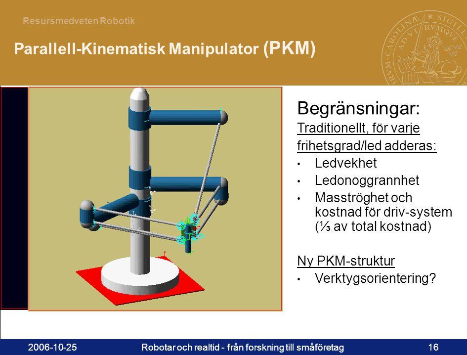 16 Resursmedveten Robotik 2006-10-25Robotar och realtid - från forskning till småföretag16 Parallell-Kinematisk Manipulator (PKM) Begränsningar: Traditionellt, för varje frihetsgrad/led adderas: • Ledvekhet • Ledonoggrannhet • Masströghet och kostnad för driv-system (⅓ av total kostnad) Ny PKM-struktur • Verktygsorientering?