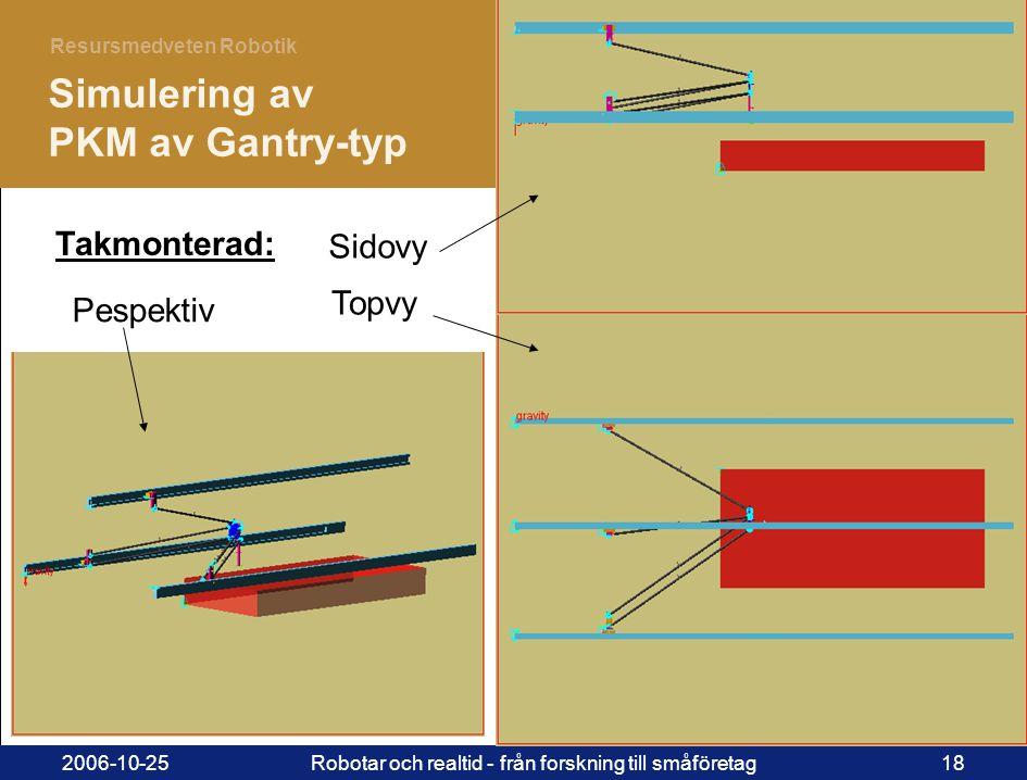 18 Resursmedveten Robotik 2006-10-25Robotar och realtid - från forskning till småföretag18 Pespektiv Simulering av PKM av Gantry-typ Sidovy Topvy Takm