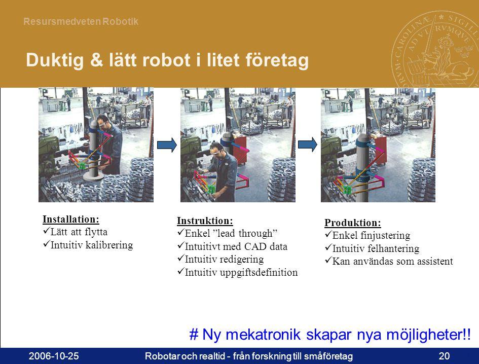 20 Resursmedveten Robotik 2006-10-25Robotar och realtid - från forskning till småföretag20 Installation:  Lätt att flytta  Intuitiv kalibrering Instruktion:  Enkel lead through  Intuitivt med CAD data  Intuitiv redigering  Intuitiv uppgiftsdefinition Produktion:  Enkel finjustering  Intuitiv felhantering  Kan användas som assistent Duktig & lätt robot i litet företag # Ny mekatronik skapar nya möjligheter!!