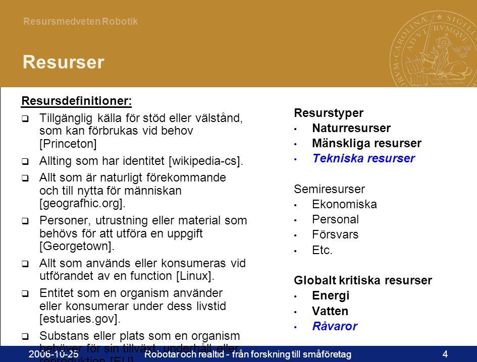 4 Resursmedveten Robotik 2006-10-25Robotar och realtid - från forskning till småföretag4 Resurser Resurstyper • Naturresurser • Mänskliga resurser • Tekniska resurser Semiresurser • Ekonomiska • Personal • Försvars • Etc.