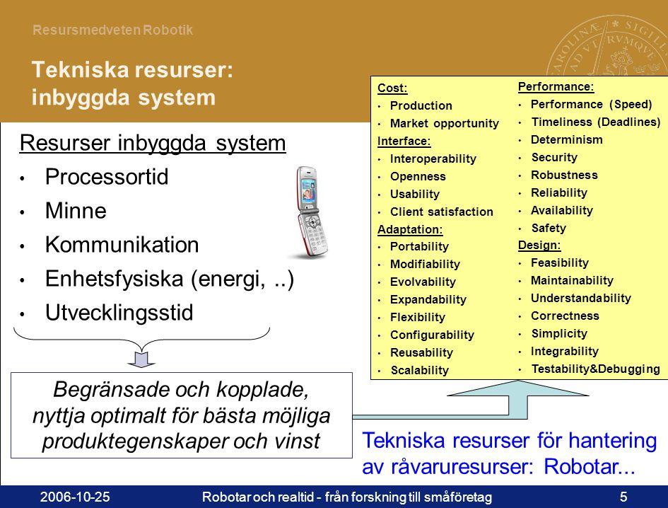 5 Resursmedveten Robotik 2006-10-25Robotar och realtid - från forskning till småföretag5 Tekniska resurser: inbyggda system Resurser inbyggda system • Processortid • Minne • Kommunikation • Enhetsfysiska (energi,..) • Utvecklingsstid Tekniska resurser för hantering av råvaruresurser: Robotar...