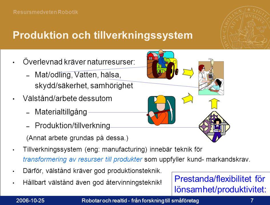 7 Resursmedveten Robotik 2006-10-25Robotar och realtid - från forskning till småföretag7 • Överlevnad kräver naturresurser: – Mat/odling, Vatten, hälsa, skydd/säkerhet, samhörighet • Välstånd/arbete dessutom – Materialtillgång – Produktion/tillverkning (Annat arbete grundas på dessa.) • Tillverkningssystem (eng: manufacturing) innebär teknik för transformering av resurser till produkter som uppfyller kund- markandskrav.