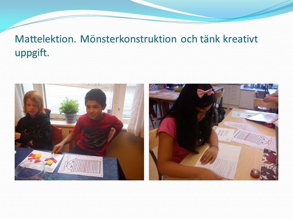 Mattelektion. Mönsterkonstruktion och tänk kreativt uppgift.