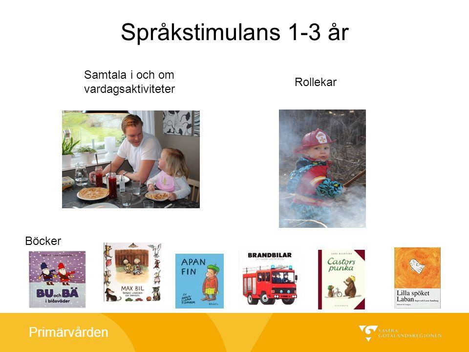 Primärvården Språkstimulans 1-3 år Rollekar Samtala i och om vardagsaktiviteter Böcker
