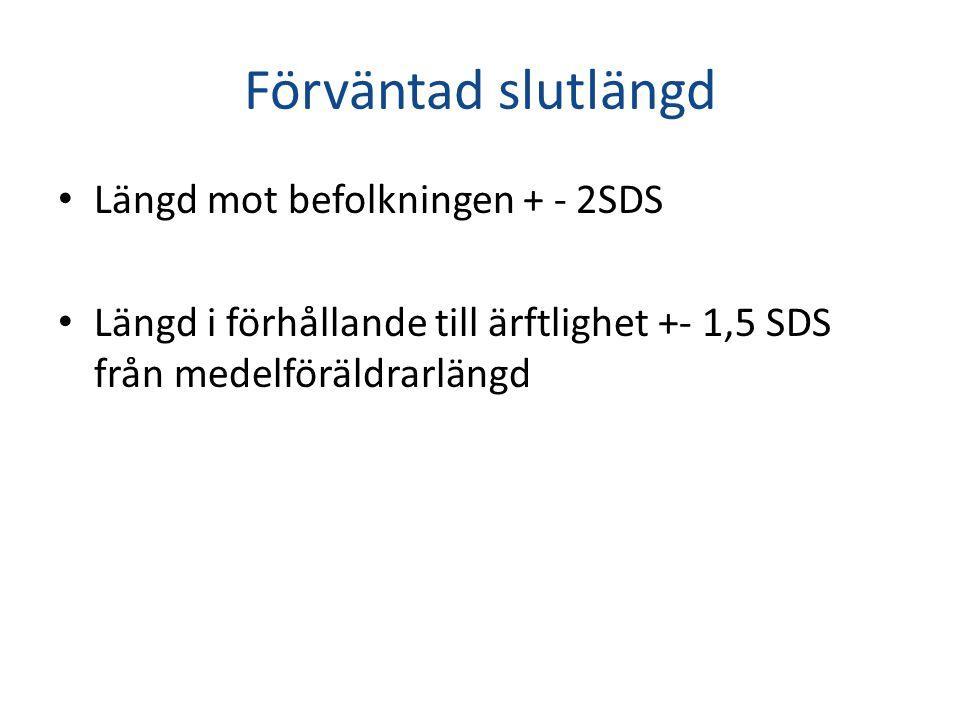 Förväntad slutlängd • Längd mot befolkningen + - 2SDS • Längd i förhållande till ärftlighet +- 1,5 SDS från medelföräldrarlängd
