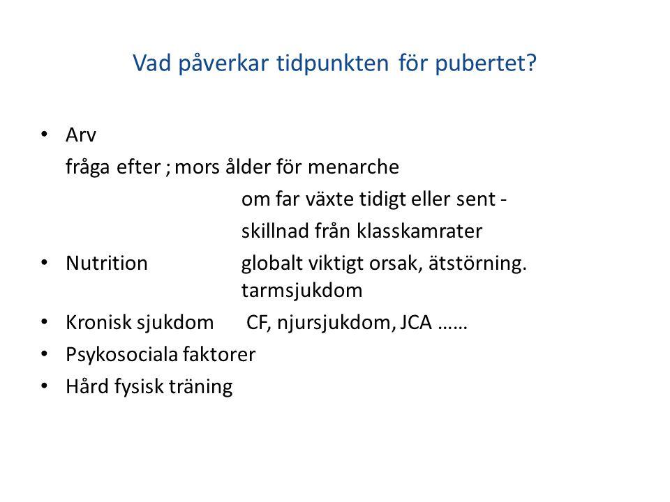 Vad påverkar tidpunkten för pubertet.