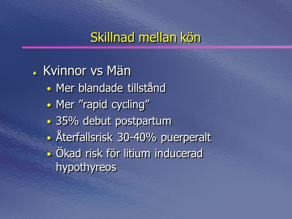 """Skillnad mellan kön  Kvinnor vs Män • Mer blandade tillstånd • Mer """"rapid cycling"""" • 35% debut postpartum • Återfallsrisk 30-40% puerperalt • Ökad ri"""