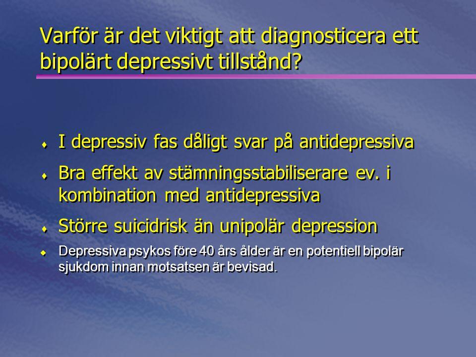 Varför är det viktigt att diagnosticera ett bipolärt depressivt tillstånd?  I depressiv fas dåligt svar på antidepressiva  Bra effekt av stämningsst