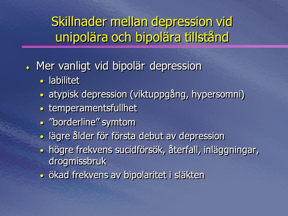 Skillnader mellan depression vid unipolära och bipolära tillstånd  Mer vanligt vid bipolär depression • labilitet • atypisk depression (viktuppgång, hypersomni) • temperamentsfullhet • borderline symtom • lägre ålder för första debut av depression • högre frekvens sucidförsök, återfall, inläggningar, drogmissbruk • ökad frekvens av bipolaritet i släkten  Mer vanligt vid bipolär depression • labilitet • atypisk depression (viktuppgång, hypersomni) • temperamentsfullhet • borderline symtom • lägre ålder för första debut av depression • högre frekvens sucidförsök, återfall, inläggningar, drogmissbruk • ökad frekvens av bipolaritet i släkten