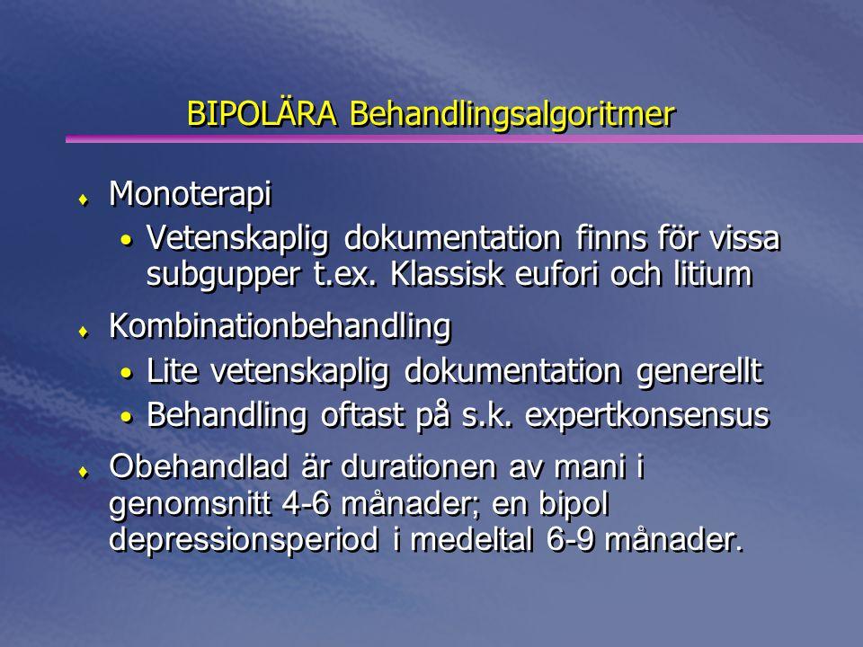 BIPOLÄRA Behandlingsalgoritmer  Monoterapi • Vetenskaplig dokumentation finns för vissa subgupper t.ex. Klassisk eufori och litium  Kombinationbehan