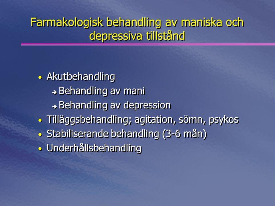 Farmakologisk behandling av maniska och depressiva tillstånd • Akutbehandling è Behandling av mani è Behandling av depression • Tilläggsbehandling; agitation, sömn, psykos • Stabiliserande behandling (3-6 mån) • Underhållsbehandling • Akutbehandling è Behandling av mani è Behandling av depression • Tilläggsbehandling; agitation, sömn, psykos • Stabiliserande behandling (3-6 mån) • Underhållsbehandling