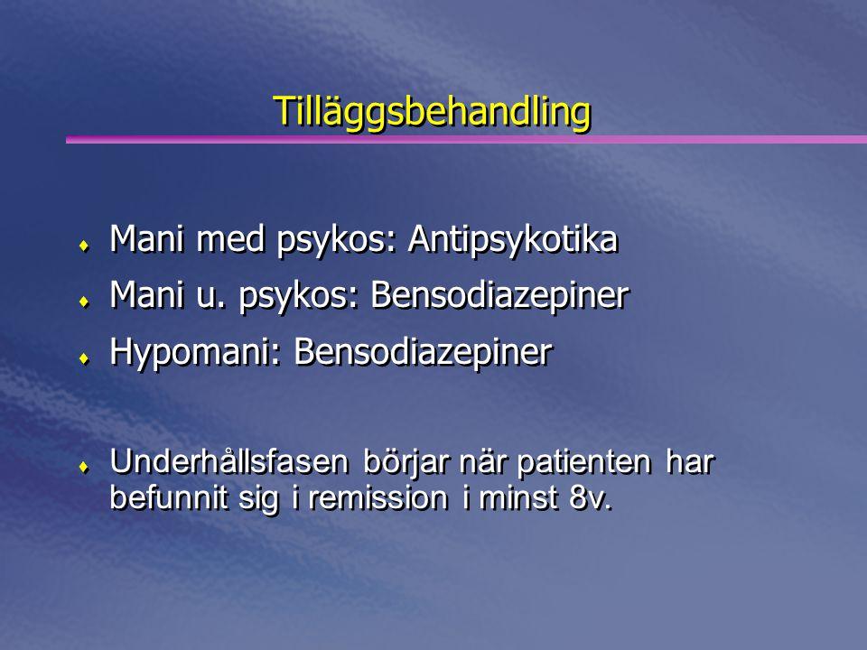 Tilläggsbehandling  Mani med psykos: Antipsykotika  Mani u. psykos: Bensodiazepiner  Hypomani: Bensodiazepiner  Underhållsfasen börjar när patient