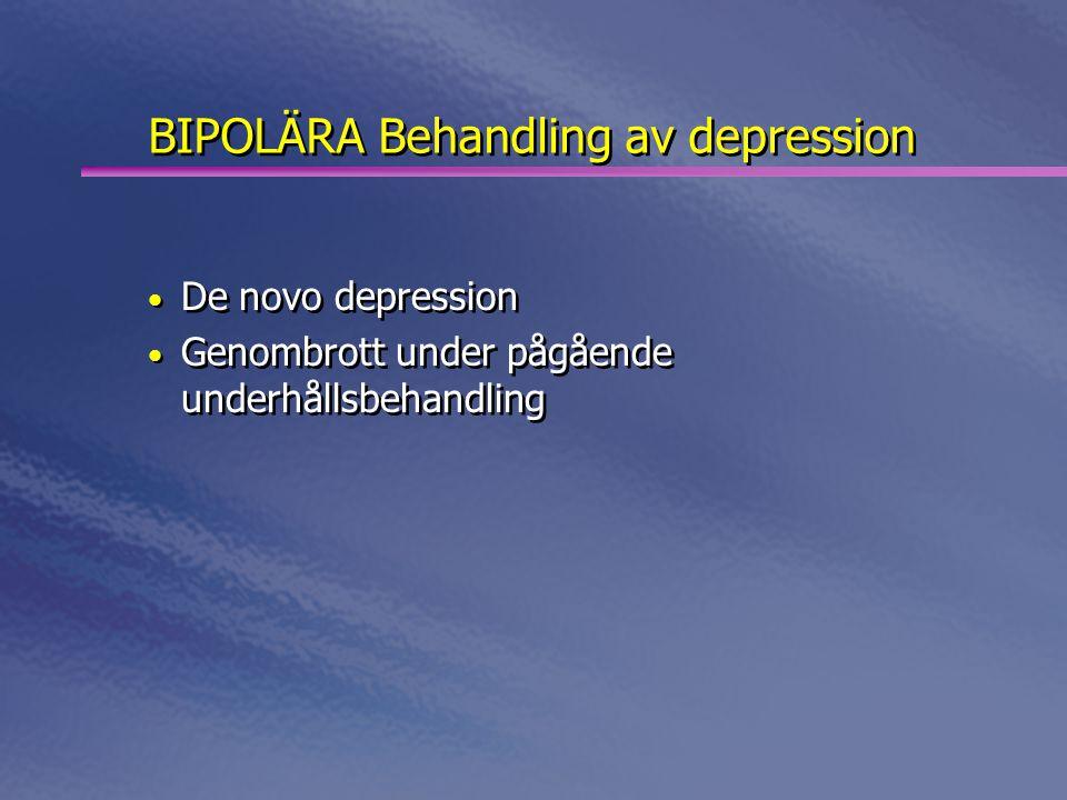 BIPOLÄRA Behandling av depression • De novo depression • Genombrott under pågående underhållsbehandling • De novo depression • Genombrott under pågåen