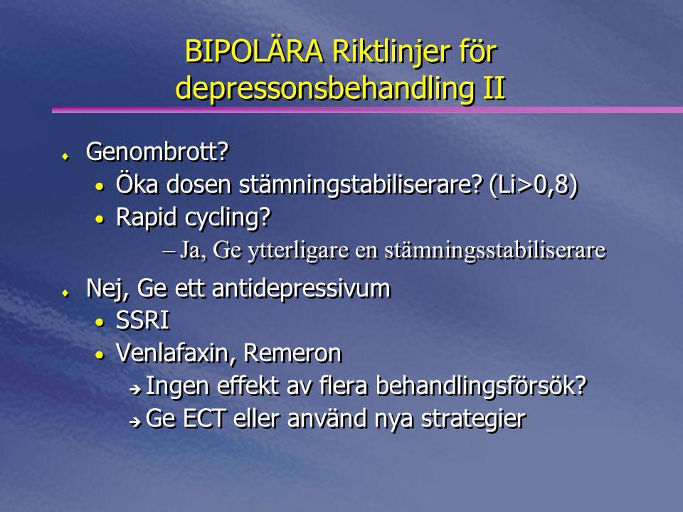BIPOLÄRA Riktlinjer för depressonsbehandling II  Genombrott? • Öka dosen stämningstabiliserare? (Li>0,8) • Rapid cycling? –Ja, Ge ytterligare en stäm