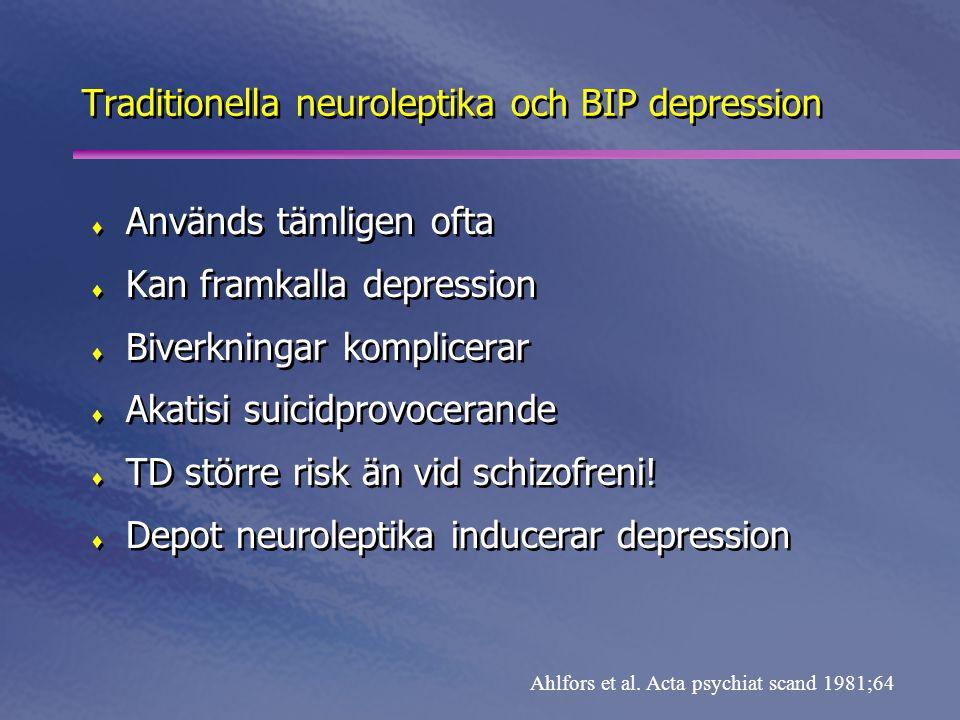 Traditionella neuroleptika och BIP depression  Används tämligen ofta  Kan framkalla depression  Biverkningar komplicerar  Akatisi suicidprovocerande  TD större risk än vid schizofreni.