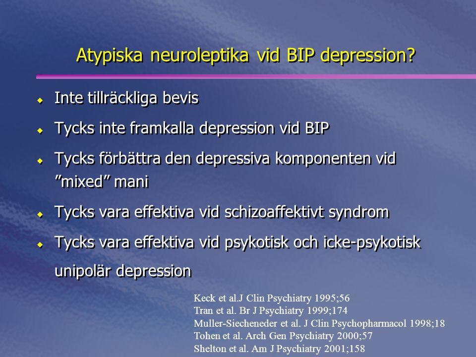 Atypiska neuroleptika vid BIP depression?  Inte tillräckliga bevis  Tycks inte framkalla depression vid BIP  Tycks förbättra den depressiva kompone