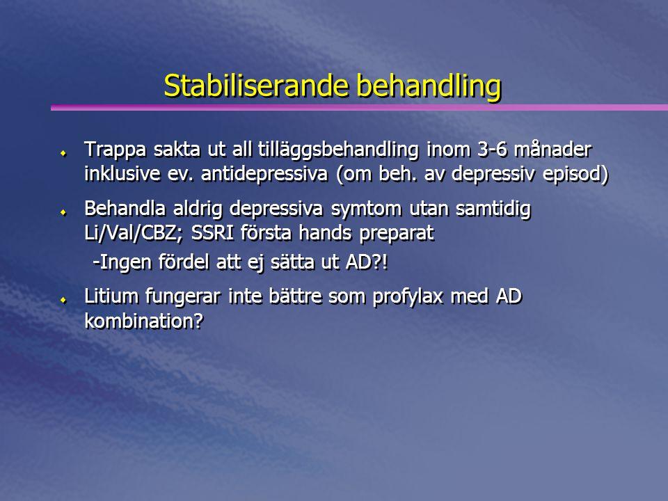 Stabiliserande behandling  Trappa sakta ut all tilläggsbehandling inom 3-6 månader inklusive ev. antidepressiva (om beh. av depressiv episod)  Behan