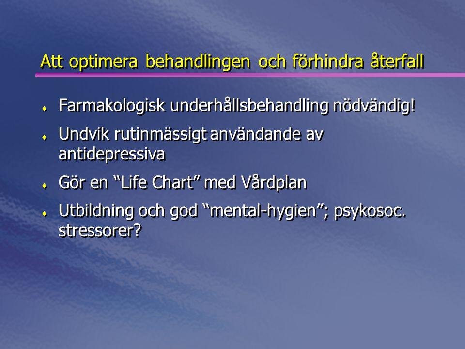 Att optimera behandlingen och förhindra återfall  Farmakologisk underhållsbehandling nödvändig!  Undvik rutinmässigt användande av antidepressiva 
