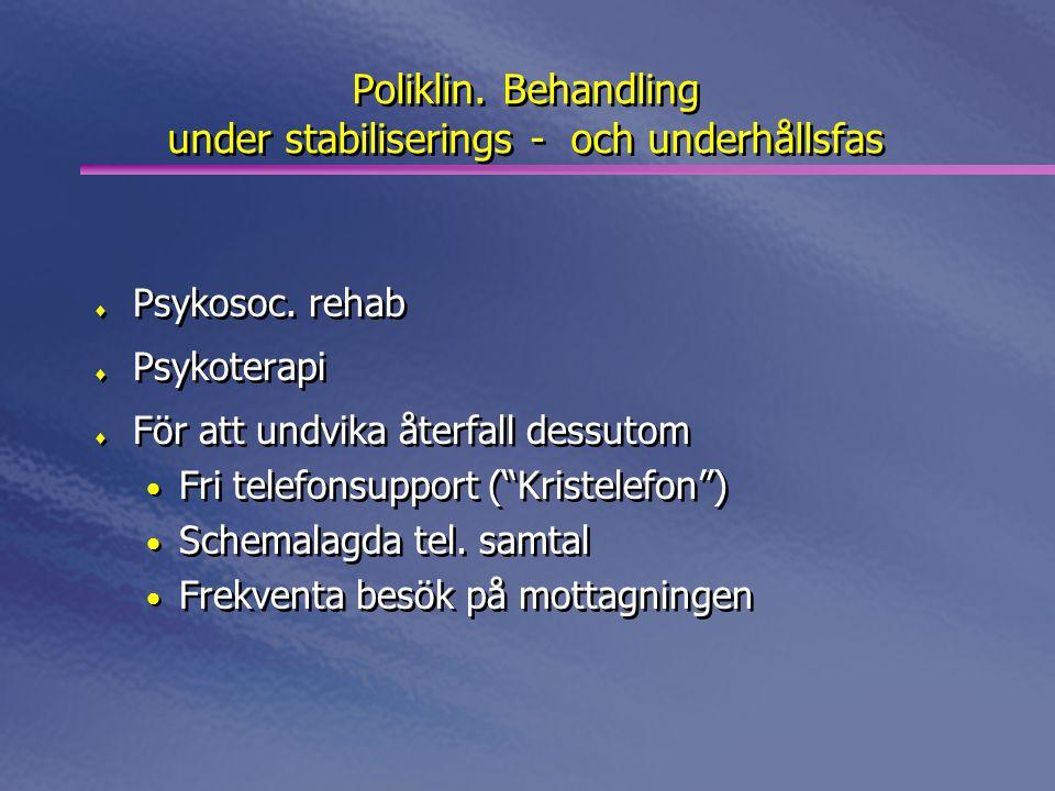 Poliklin. Behandling under stabiliserings - och underhållsfas  Psykosoc. rehab  Psykoterapi  För att undvika återfall dessutom • Fri telefonsupport