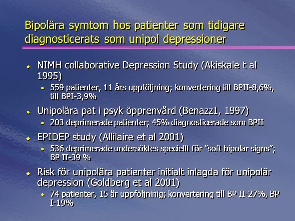 Uppföljning av 79 depr barn under 2-5 år  Tydlig bipolär utveckling ca 30%  Manisk period ca 10%  Hypoman period ca 15% Geller et al 1994  Uppföljning av 79 depr barn under 2-5 år  Tydlig bipolär utveckling ca 30%  Manisk period ca 10%  Hypoman period ca 15% Geller et al 1994 Barn med svår depression Utvecklar bipolärt syndrom
