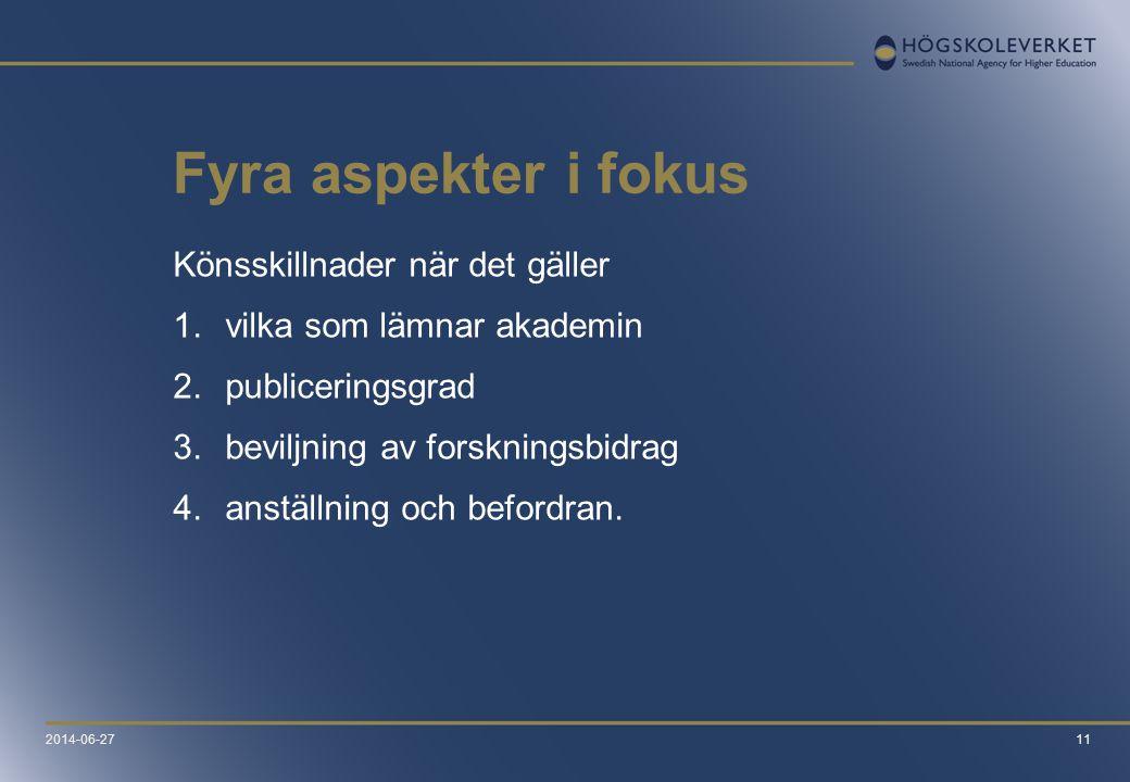 11 Fyra aspekter i fokus Könsskillnader när det gäller 1.vilka som lämnar akademin 2.publiceringsgrad 3.beviljning av forskningsbidrag 4.anställning o