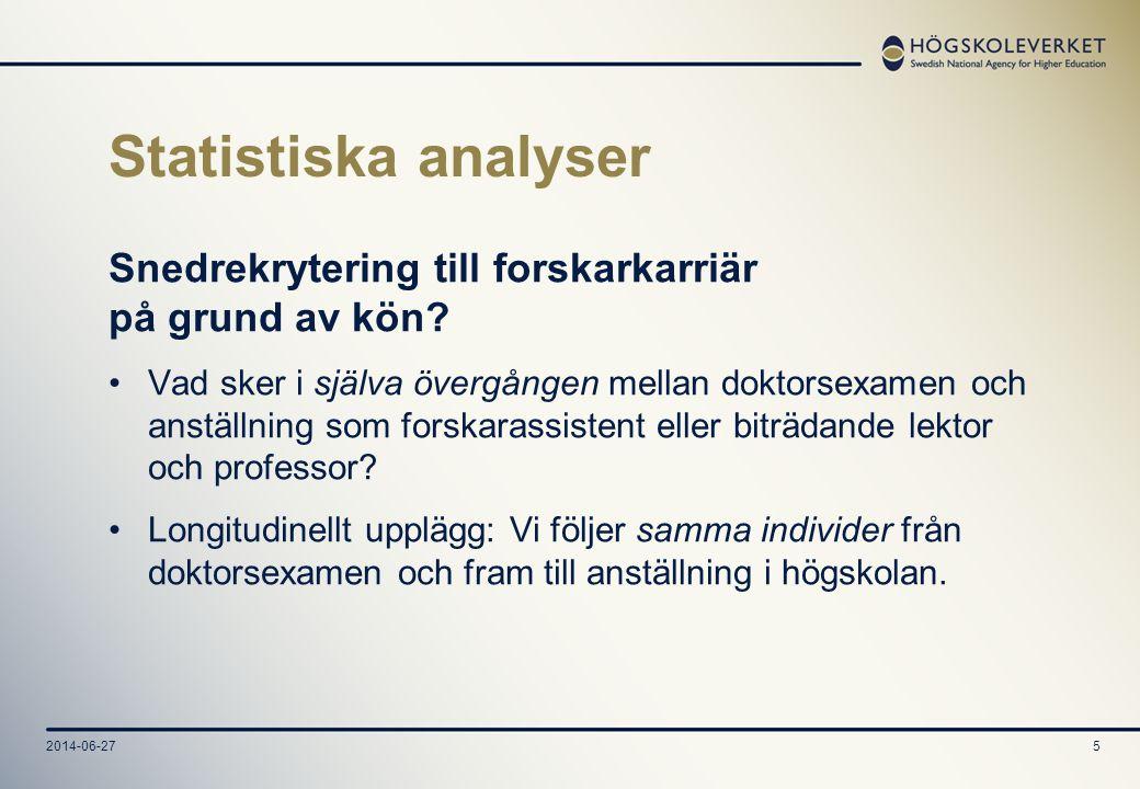 2014-06-275 Statistiska analyser Snedrekrytering till forskarkarriär på grund av kön? •Vad sker i själva övergången mellan doktorsexamen och anställni