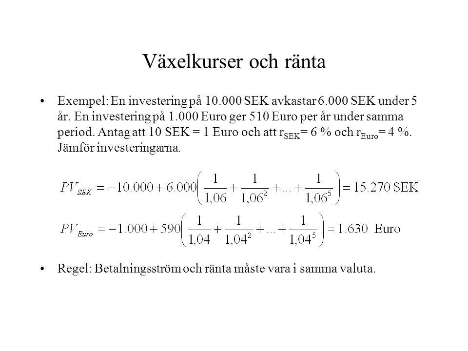 Växelkurser och ränta •Exempel: En investering på 10.000 SEK avkastar 6.000 SEK under 5 år. En investering på 1.000 Euro ger 510 Euro per år under sam